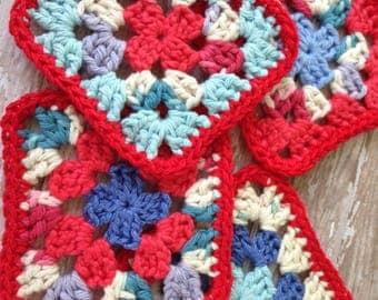 Coasters, Crochet USA Coasters, Mug Rugs, Boho Crochet Home Decor, Granny Square Coasters, Colorful Coasters, 100% Cotton, Red White Blue