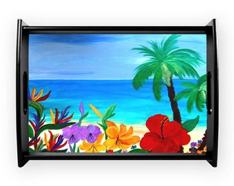Tropical beach coastal serving tray from my art, available in 2 sizes