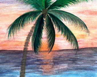 Sunset palm tree yoga mat from my art