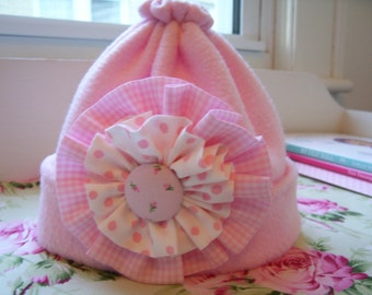 Pale Pink Fleece Hat for Your Baby Girl...Infant to Toddler
