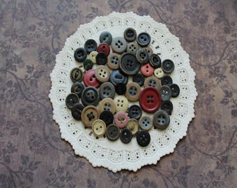 Vintage Painted Wood Buttons