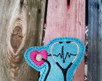 Flash Sale Heart Stethescope - EKG- Badge Reel - Retractable Badge Reel - gift for nurse - ID holder - identification - Embroidered - Durabl