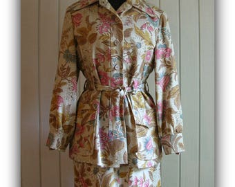 Vintage Floral 2-Piece Maxi Skirt with Jacket