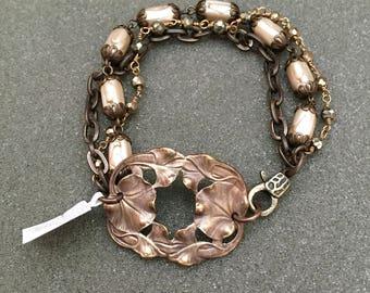 Retro Water Lily Pearl Pyrite Bracelet