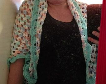 Shrug, Ladies Accessories, Ladies Clothing, Size Lg to 1x, Handcrocheted Shrug, Handmade Shrug. Handcrocheted Sweater, Ladies Jacket