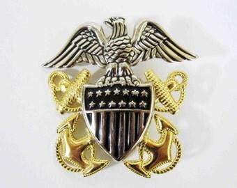 Vintage U.S. Navy Officers Cap Badge. Circa 1980's or Earlier.