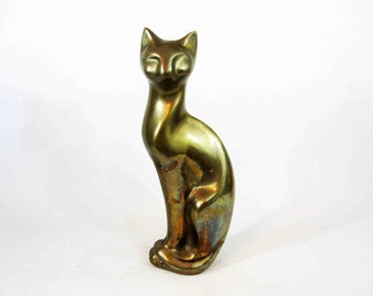 Vintage Mid Century Brass Finished Cat Figure. Circa 1960's.