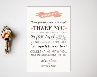 Thank You Reception Card  Reception Decor  Thank You Card  Modern Wedding Decor  Reception Thank You Card  Place Card
