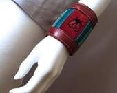 Boho leather cuff, red leather bracelet, handmade boho jewelry, gypsy bracelet, bohemian fashion, hippie bracelet cuff, Bee bracelet