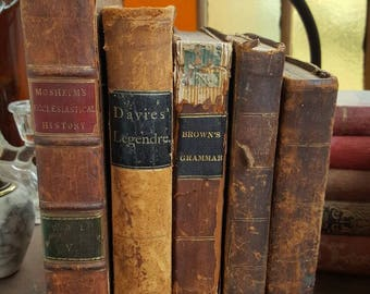 Primitive Antique 1800's Leather Book Lot from Rustysecrets