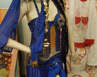 Vintage Heavily Beaded Blue and Gold Belly Dancer Costume Burlesque Costume from Rustysecrets