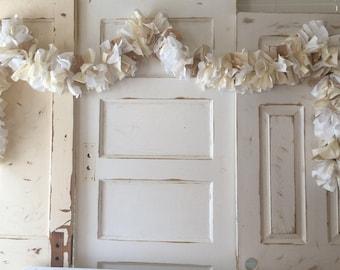 Burlap Wedding Garland. Burlap and Lace Wedding Banner. Handmade Burlap Wedding Garland, 6-10 ft Rustic Wedding Shower decoration