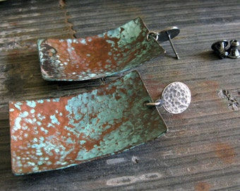 Verdigris earrings. Copper patina jewelry with oxidized sterling silver posts. Mixed metal organic dangle studs. Elemental.