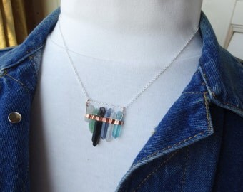 """10.00 Dollars OFF - Crystal Bar Necklace - """"Circle of Stone""""- 18"""" chain - Choice of Necklace - Outlandish - Fairy Magic - Multi crystal"""