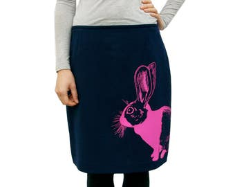 Dutch Rabbit pencil skirt - eco neon pink screenprint on sustainable upcycled navy blue pencil skirt - size 10p