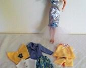 Barbie Doll Clothes Set, 3 Outfits, Evening Gown, Skirt, Blouse, Jean Vest, Jacket, Pants, Capris, Shorts, Dress, Jacket, 1990's