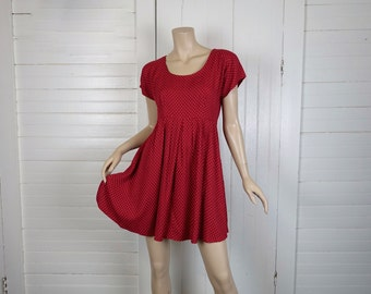 90s Babydoll Dress in Carnelian Red & Dots- 1990s Cap Sleeve Empire Mini Dress- Small
