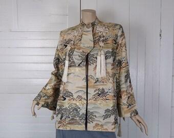 Striking Brocade Jacket- 1980s Swing- Asian Landscape- 80s / 90s
