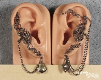 ghost EAR WRAP & ear cuff SET - gothic ear wrap, silver ear cuff, adjustable ear wrap, no piercing ear wrap, elegant jewelry, gothic jewelry