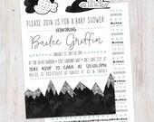 Baby Shower Invitation : Scandinavian Mountains and Clouds Invitation, Printable Custom Boy Aztec Tribal Invite, Boho Baby