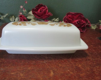 Butter Dish Pyrex Milk Glass Butterfly Gold