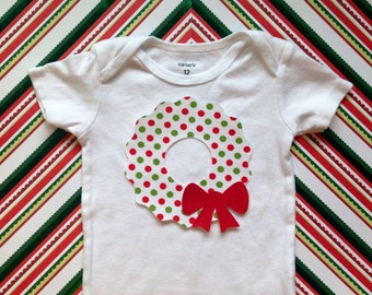1 Fabric Iron On Christmas Wreath Applique