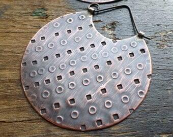 Copper Hoop Earrings, Ethnic Tribal Rustic Primitive Earthy Organic Textural Handwrought Artisan Metalsmith Earrings