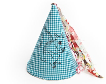 Squirrel print fabric party hat