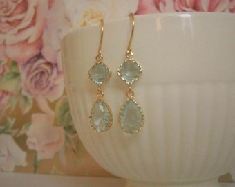 Aquamarine Earrings, Gold Earrings,  Bridal Jewelry,