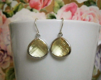 Citrine Earrings, Yellow Earrings, Silver Earrings, Wife, Sister, Mom, Mother Gift, Sister Gift