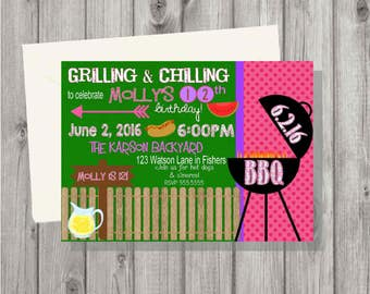 Digital Barbecue Cookout Birthday Girl Party Invitation Printable Any Age