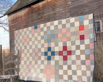 """Antique Block Quilt Feed Sack Fabric Patch Work 79x66"""""""