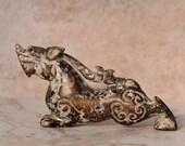Vintage Jade Dragon Hard Stone Figurine Statue
