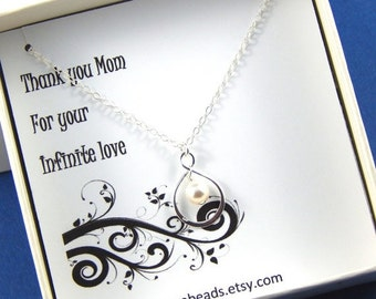 Christmas Sale Mother's Necklace -  Sterling Silver Infinity Necklace Gift For Mom Thank You Gift Gift Boxed Jewelry