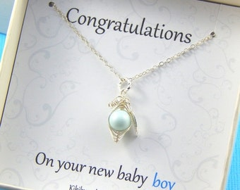 Christmas Sale Baby Boy Gift, Boxed Necklace,  New Mother Gift,  Baby Shower Gift,  Christening Gift