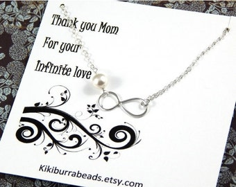 Christmas Sale Silver Infinity Necklace - Mother's Necklace Gift For Mother Sterling Silver Gift Boxed Jewelry