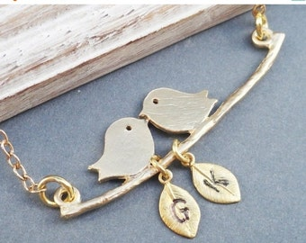 Christmas Sale Gold  Lovebirds on a Branch Necklace with Hand stamped Personalized Leaves Choose up to 5 leaves