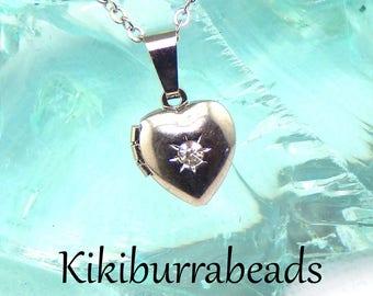 Silver Heart Locket, Tiny Silver Heart Locket Necklace, Dainty Locket,  Opening Locket Necklace