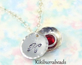 Mothers Day Sale Initial Necklace with birthstone,Hidden birthstone necklace,Birthstone locket necklace,birthstone locket pendant,choose ini