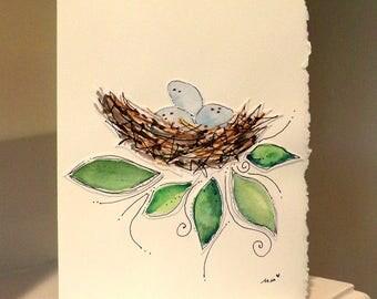 "Robin Eggs Nesting Time  Watercolor Original Strathmore Card 5"""" x 6 7/8"" & Envelope Card Blank  betrueoriginals"