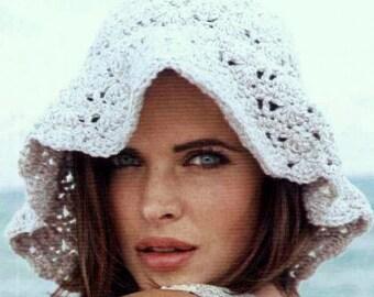 INSTANT DOWNLOAD PDF    Vintage Crochet Pattern    Floppy Wide Brimmed Sun Hat