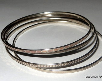 Set Four Sterling Bangle Bracelet Skinny