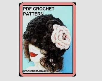 INSTANT DOWNLOAD Crochet Pattern PDF 11 -Cloche Hat and Large Beaded Flower with Tassels- Adult size