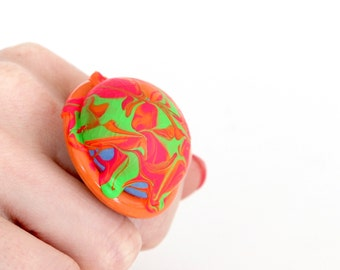 Statement Ceramic Ring -  Fluoro ring, Bold ring, Neon ring, Fall fashion, Cocktail Ring, New Year Fashion