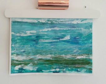 ON SALE ! - All at Sea - Original abstract sea scape on paper in shades of blue and green .