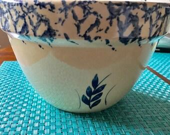 "Robinson Ransbottom Pottery RRP Roseville Ohio Blue Wheat Sponge Ware 9"" Bowl"