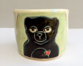 Black Bear Cup, Small, Green Shot Cup or Ceramic Shot Glass with Melancholy Bear and Rainy Cloud, Bar Ware or Child's Cup, Animal Pottery