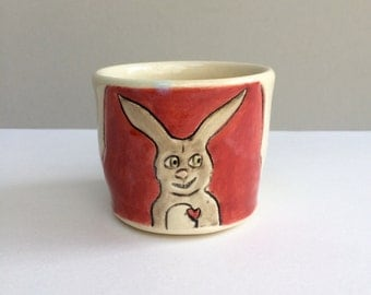 Rabbit Cup, Small, Bunny and Carrot BFFs on Red and Gray Ceramic Shot Glass or Shot Cup, or Child's Cup, Bar Ware, Animal Pottery