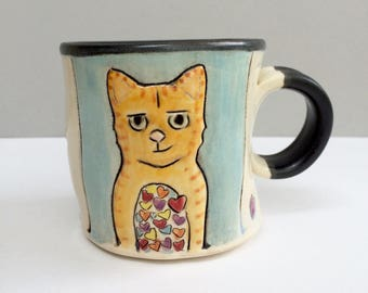 Cat Mug, Small Blue Ginger Kitty Mug with Orange Cat Full of Love,  Small Coffee Mug or Tea Mug with Hearts, Animal Pottery, Cat Pottery