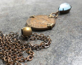 Bohemian Jewelry Old Coin Necklace Brass Pendant